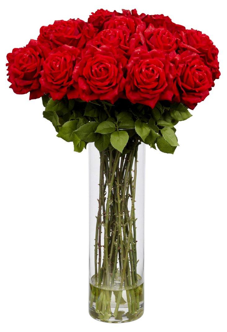 "31"" Roses in Vase, Faux"