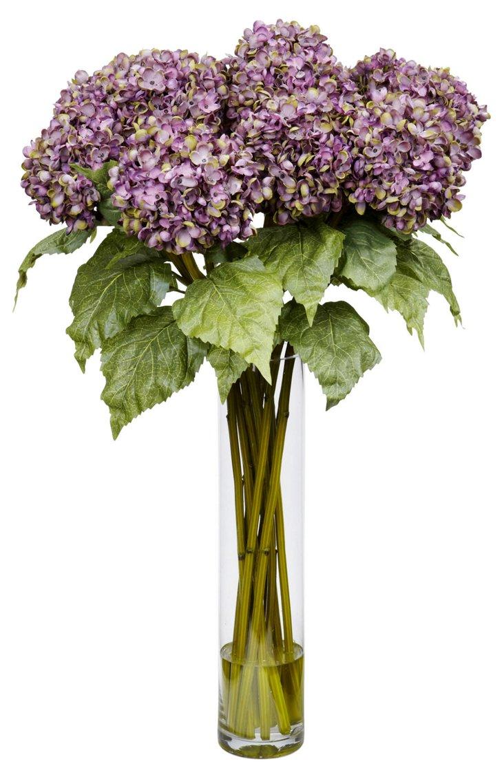 """30"""" Purple Hydrangeas in Vase, Faux"""