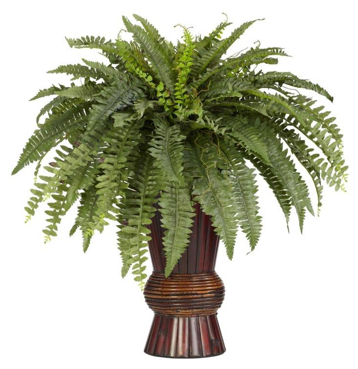 2.5' Boston Fern in Bamboo Vase, Faux