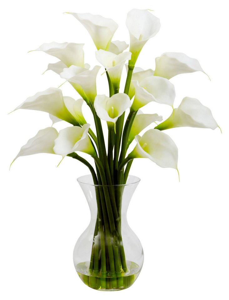2' Calla Lily in Vase, White