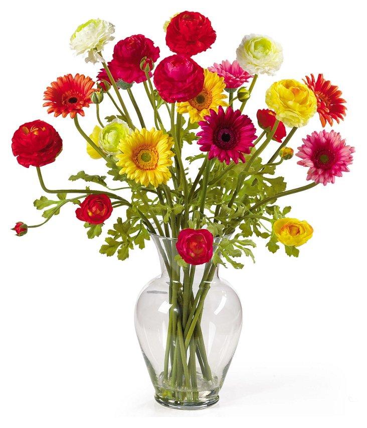 """24"""" Ranunculus Flowers in Vase, Faux"""