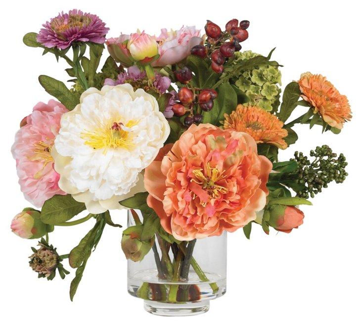 """10"""" Peonies in Vase, Faux"""
