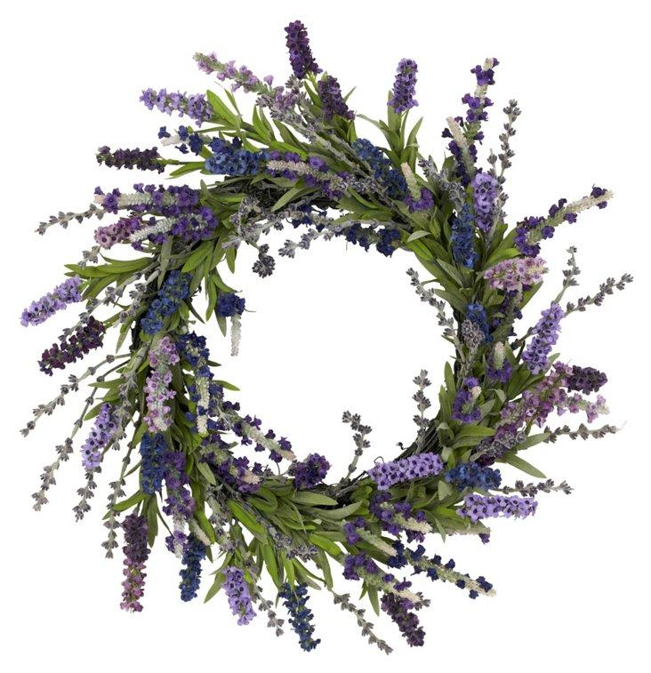 """20"""" Lavender Wreath, Faux"""