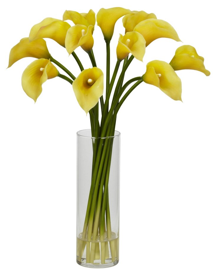 "20"" Calla Lilies in Glass Vase, Faux"