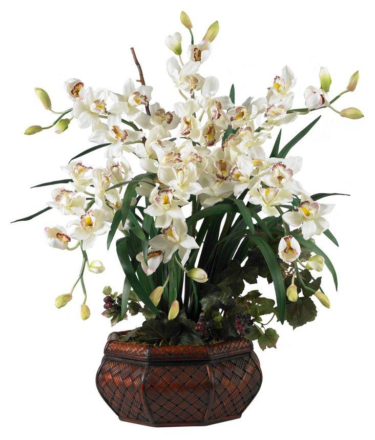 "36"" Blossoms in Woven Planter, White"