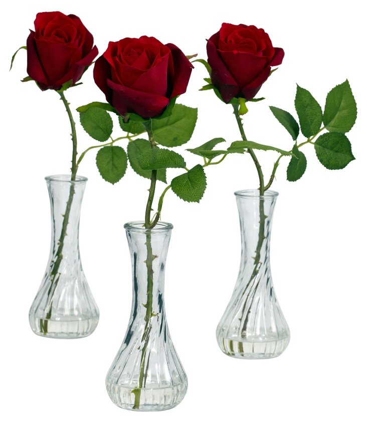 S/3 Roses in Bud Vase, Red