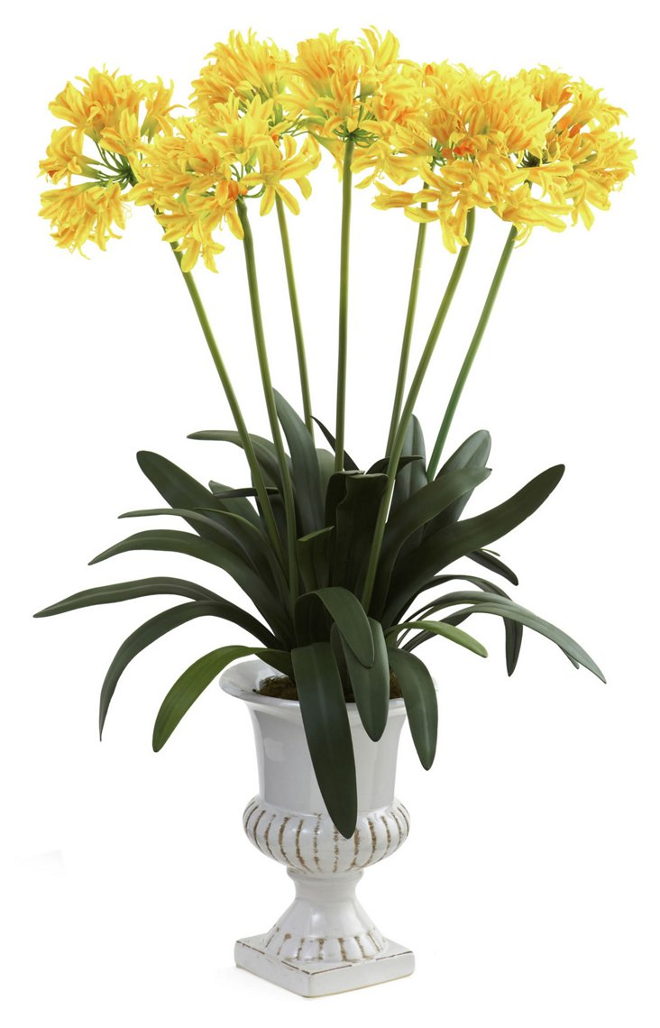 """34"""" African Lily in Urn, Faux"""