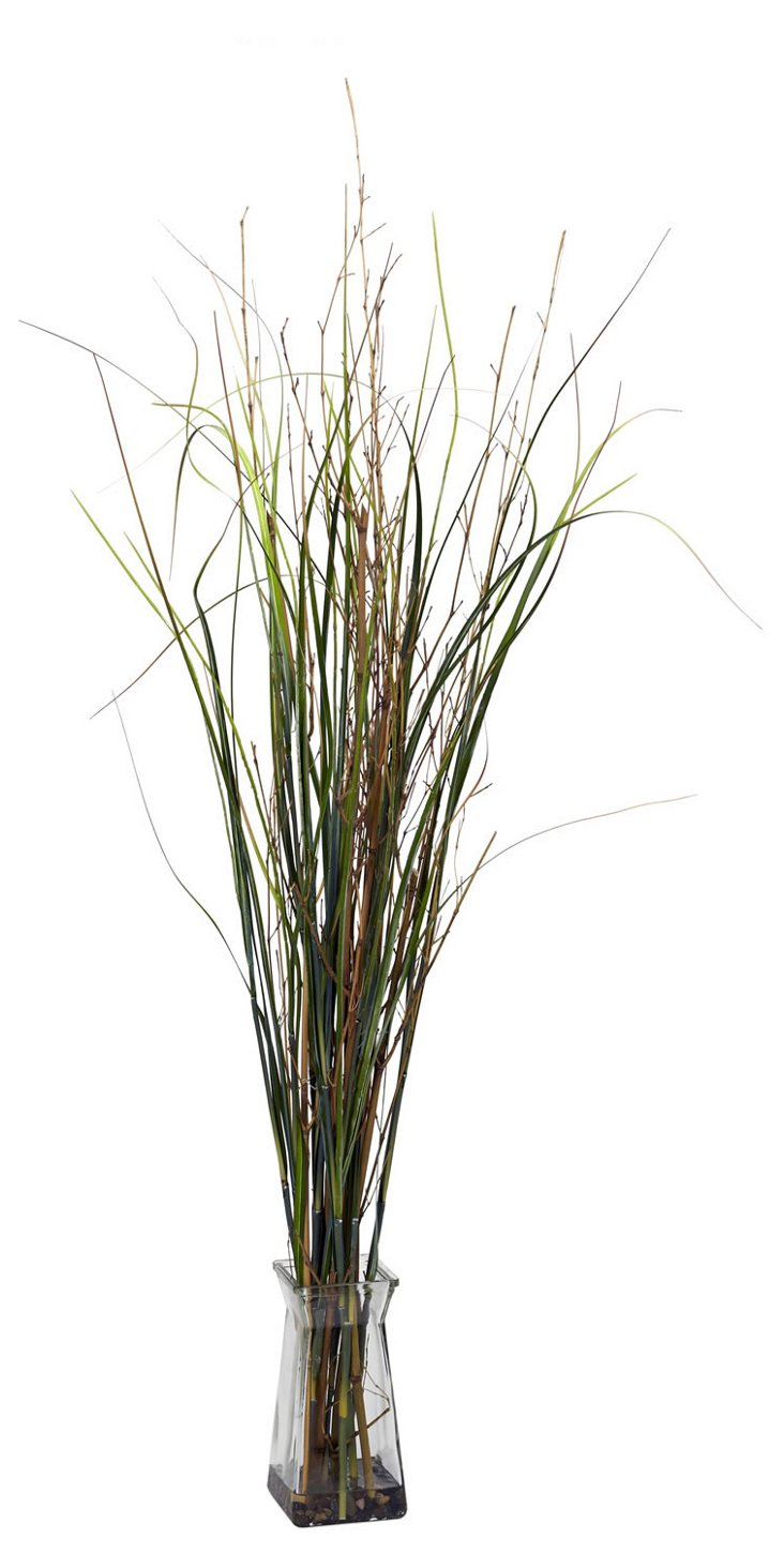"""46"""" Grass & Bamboo in Glass Vase, Faux"""