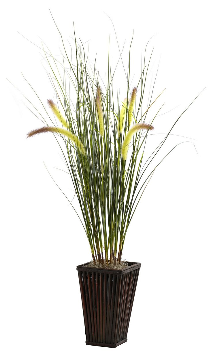 """36"""" Grass w/Cattails in Planter, Faux"""