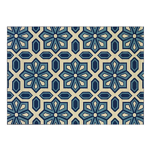 Puna Outdoor Rug, Blue/Sand