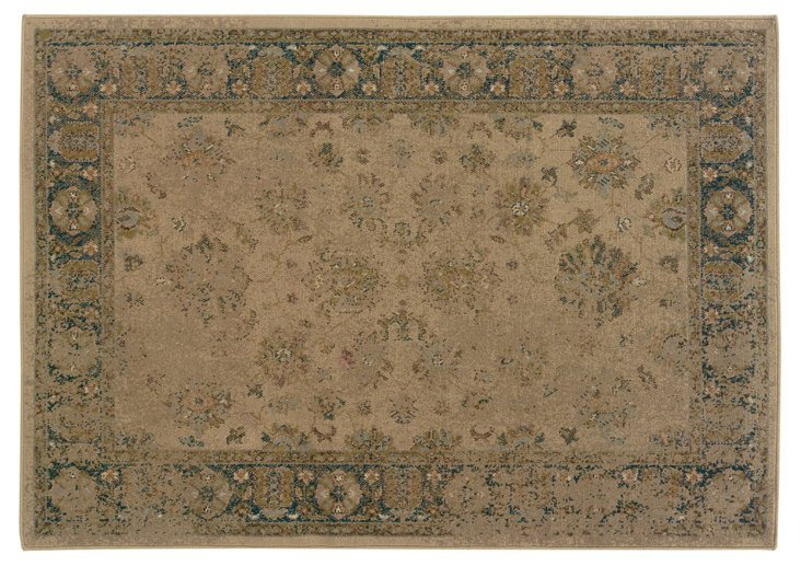 "3'10"" x 5'5"" Ted Rug, Beige/Dark Teal"