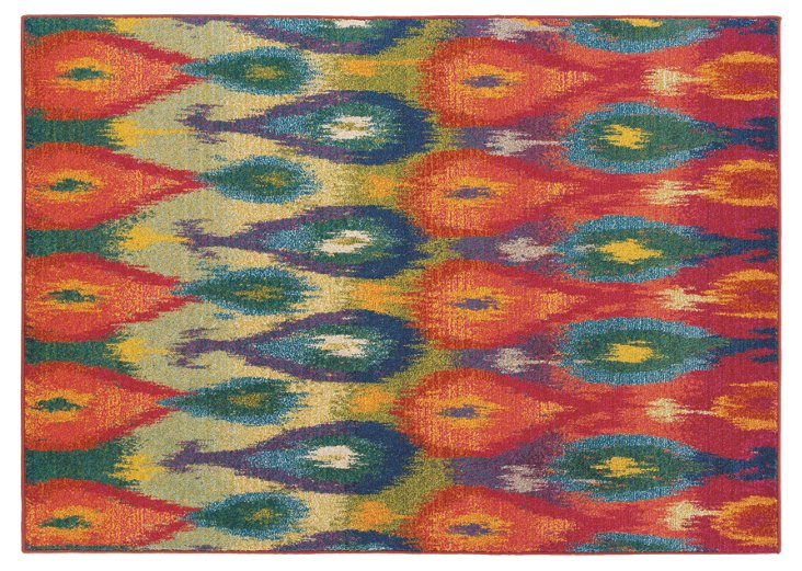 """4'x5'9"""" Akron Rug, Red/Multi"""