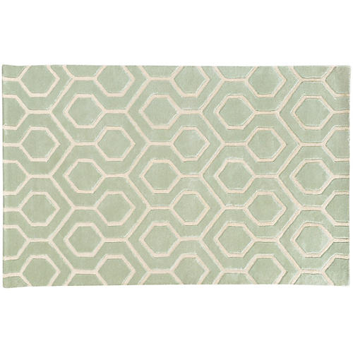 Optic 41106 Rug, Green/Ivory
