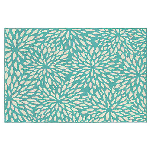 Henderson Outdoor Rug, Blue/Ivory