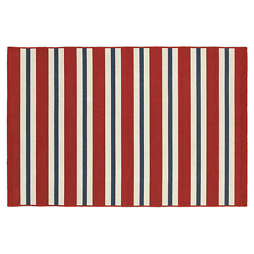 Myers Outdoor Rug, Red/Blue