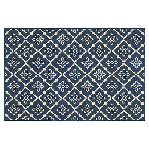 Poway Outdoor Rug, Navy/Ivory