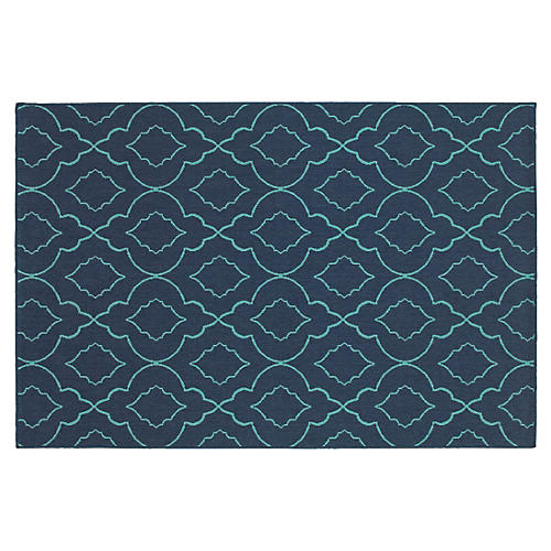 Cajon Outdoor Rug, Navy/Blue