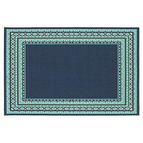 Pasadena Outdoor Rug, Navy/Green