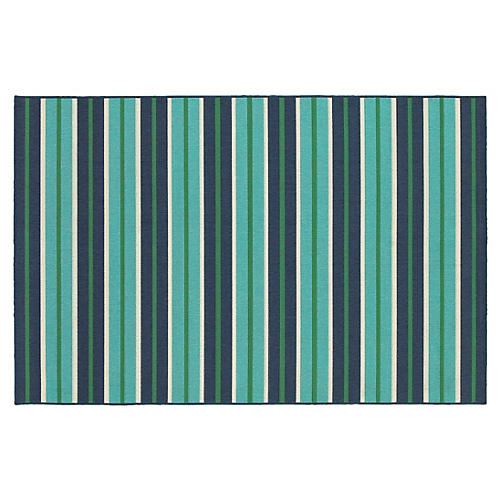 Diego Outdoor Rug, Blue/Green