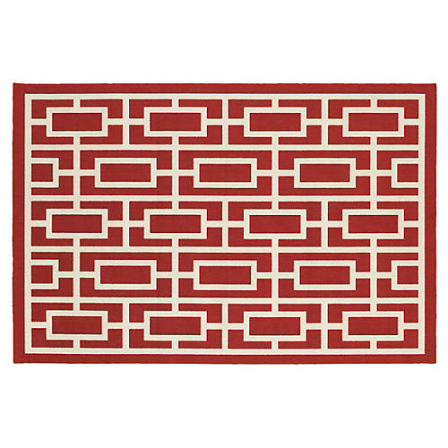 Destin Outdoor Rug, Red/Ivory
