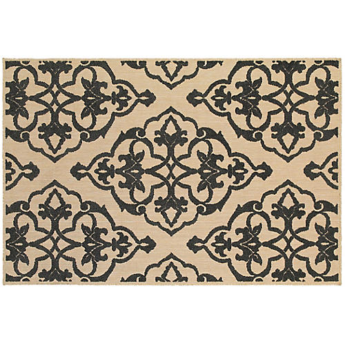 Lynx Outdoor Outdoor Rug, Sand/Charcoal