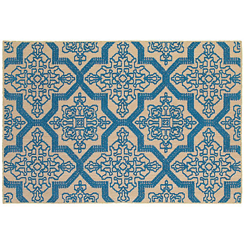 Orion Outdoor Outdoor Rug, Sand/Blue