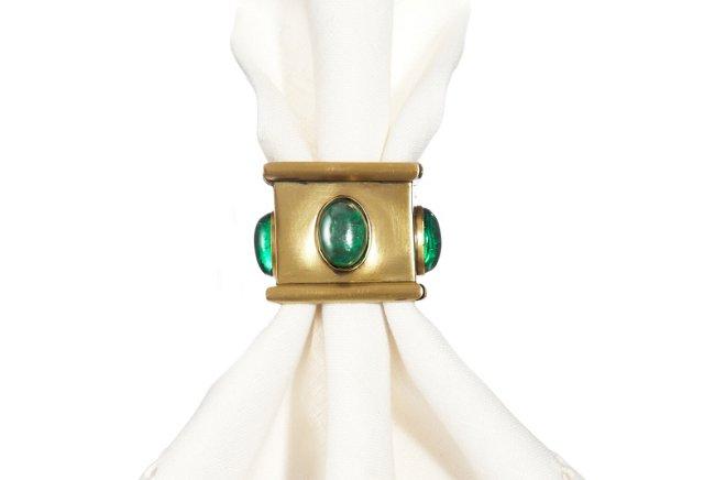 S/4 Square Napkin Rings, Emerald