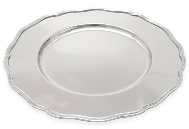 S/4 Scalloped-Edge Chargers, Silver