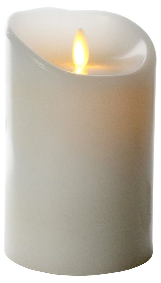 """5"""" Flameless Candle w/ Timer, White"""