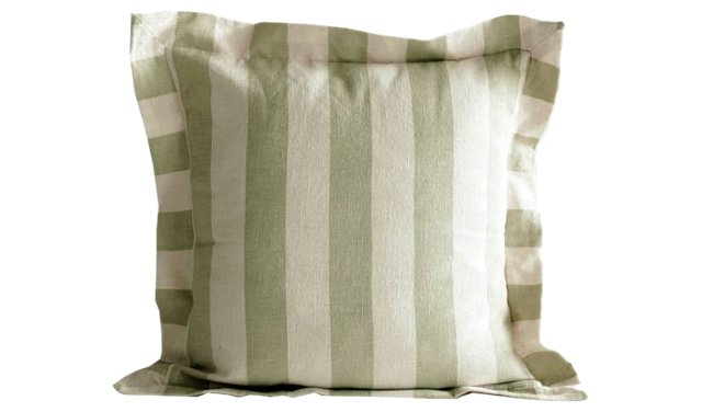 Sage Cabana-Stripe Pillows, Pair
