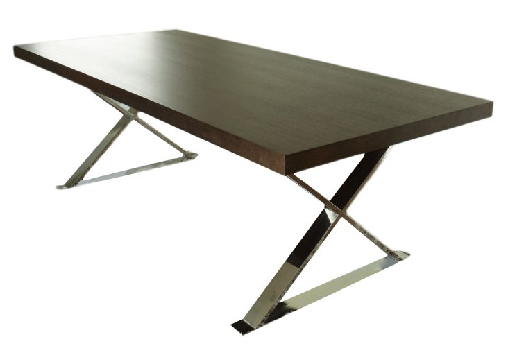 X-Leg Dining Table, Mocha