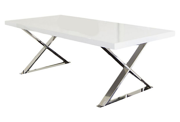 X leg dining table white silver for Single leg dining table