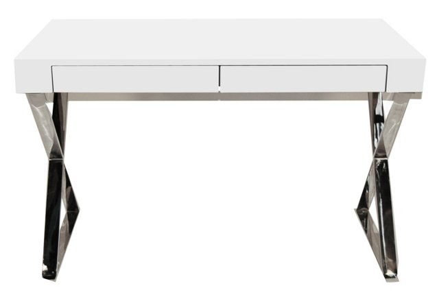 Alba X-Leg Desk, White