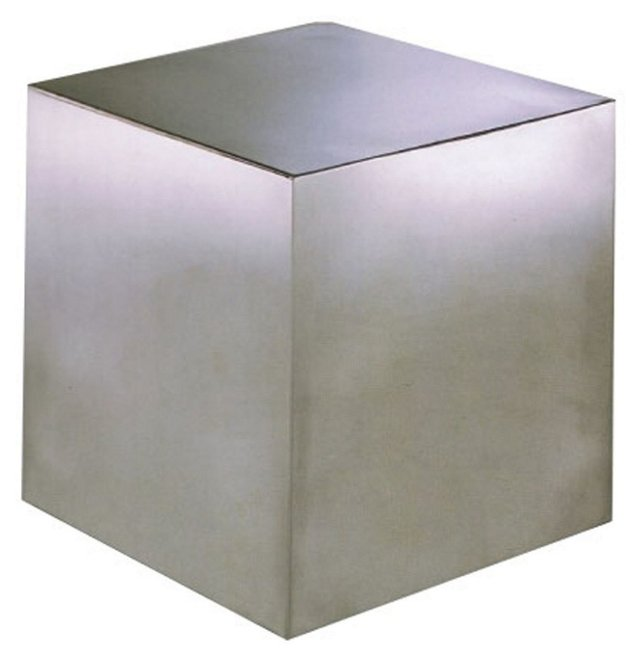 Small Cubix Side Table, Brushed Metal