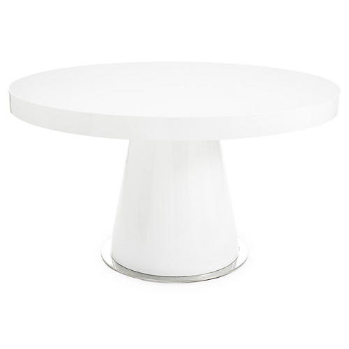 """Donald 53"""" Round Dining Table, White Lacquer"""