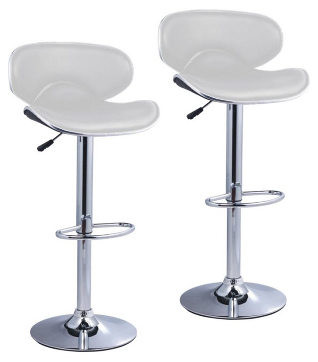 White Barrow Barstools, Pair