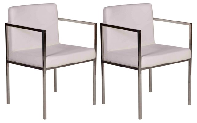 White Glendale Dining Chair, Pair