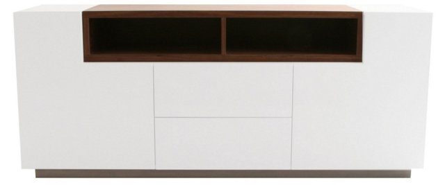 Trixy Large Media Unit, White/Walnut