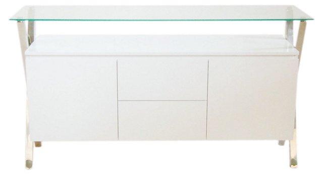 Pratt Buffet, White/Silver