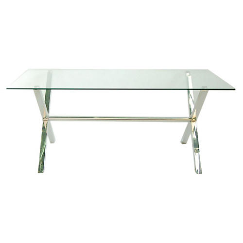 "Cameron 79"" Glass Dining Table, Chrome/Glass"