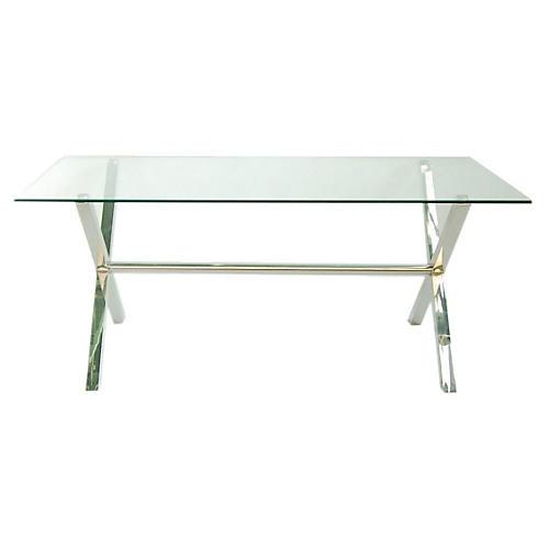 "Cameron 79"" Glass Dining Table, Chrome/Glass"