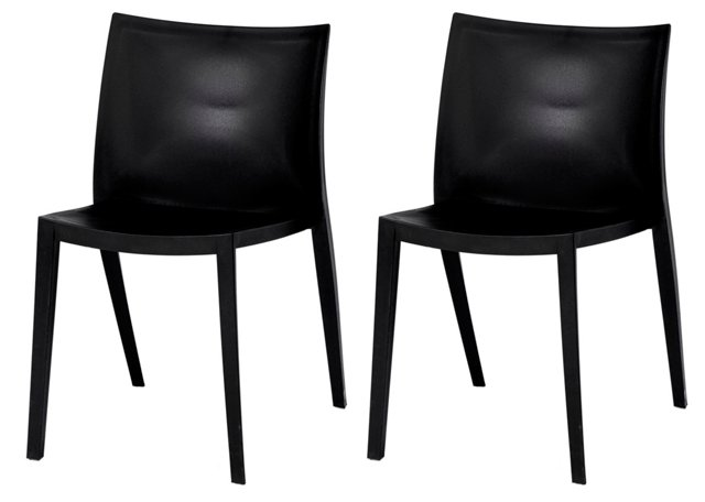 Black Bradley Dining Chairs, Pair