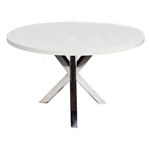 "Charlotte 47"" Round Dining Table, White/Chrome"