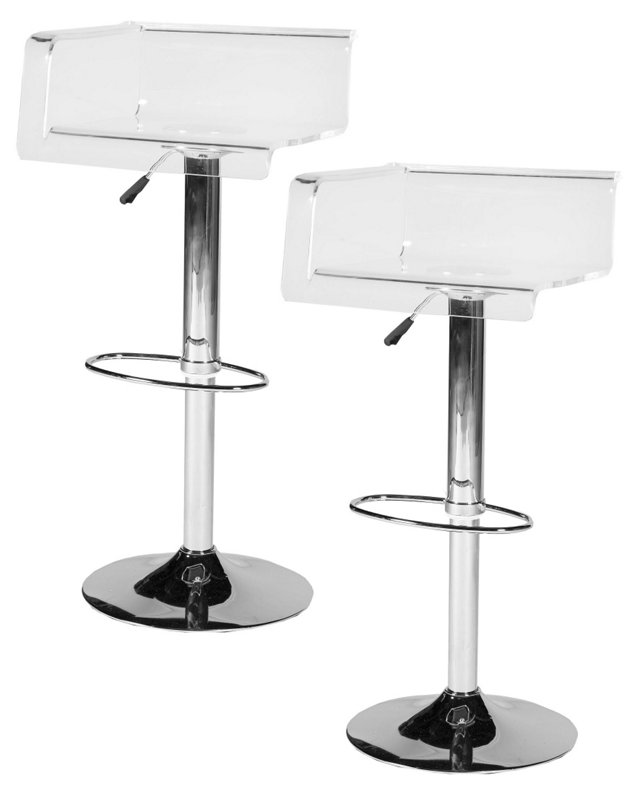Clear Judy Barstools, Pair