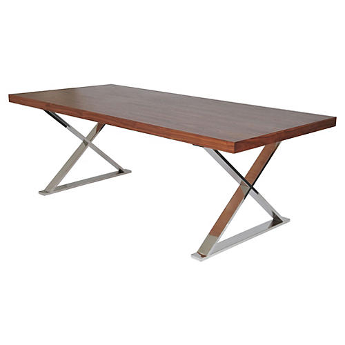 "X-Leg 87"" Dining Table, Walnut"
