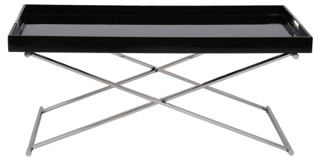 Belle Tray Table, Black/Silver