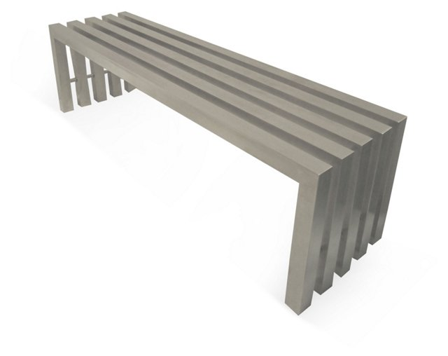 Vlad Bench, Brushed Metal