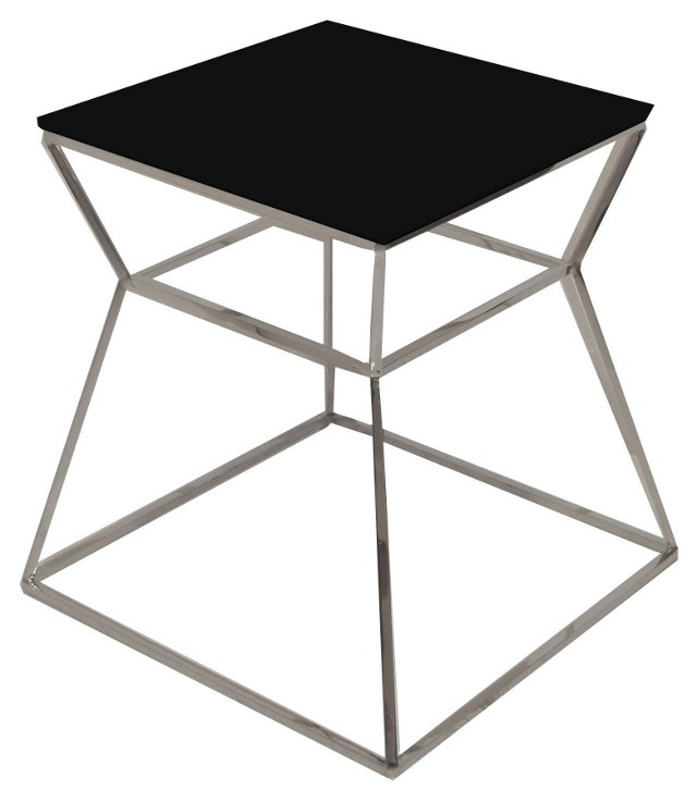 "Geo Glass 18"" Side Table, Black"