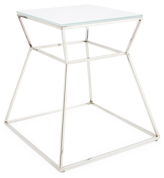 Geo Glass Side Table, White
