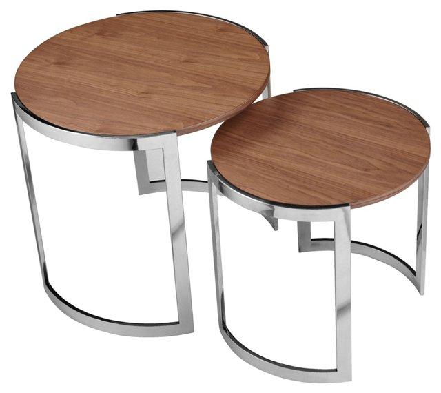 Orion Kids Nesting Side Tables, Walnut